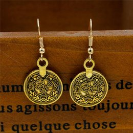 Wholesale Crystal Coins - New Bohemian Gold silver plated round shape coin earrings Tassel Ear Stud Earrings Fashion Jewelry Earing BOHO Accessories Jewellry