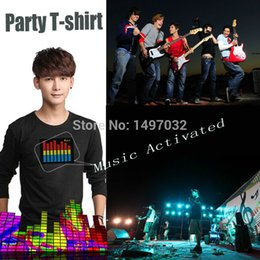 Wholesale Led Activate Equalizer - Wholesale-Fast shipping Unisex EL clothing Sound Activated Flashing cosplay Light Up Down Music Party Equalizer LED TShirt it is fantastic