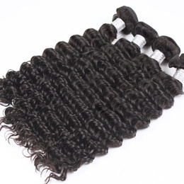 Wholesale Wholesale Virgin Tight Curly Hair - Uglam Hair Product Peruvian Virgin Hair Extension Deep Wave 10pcs lot Deep Wave Tight curly Peruvian Human Hair Weaves Free Ship