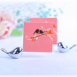 Wholesale Gift Card Holder Metal - Metal Love Bird Place Card Holder Wedding Party Table Decor Bridal Baby Shower Baptism Favor Gift Party Souvenirs S201728