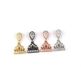 Wholesale Jewelry Findings For Bracelets - Fashion CZ Jewelry Finding 6 pcs lot Mixed Colour 10*20*4.5 Princess Crown Inlay Zircon Metal Connector For Bracelets Making BMW00524