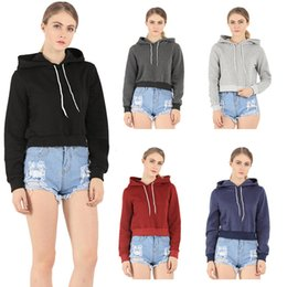Wholesale Hooded Blouse - wholesale retail spring autumn hoodies for women pullovers womens hooded crop top cotton blend short casual blouse