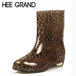 Wholesale Waterproof Leopard Boots - Wholesale-HEE GRAND Women Boots Fashion Platform Rubber Rainboots Mid-Calf Dot Flats Leopard Waterproof Boot Casual Shoes Woman XWX511