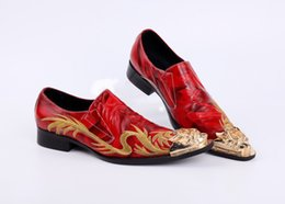 Wholesale Fall Style Tips - New style Dragon embroidery handmade men leather shoes men loafers wedding and party shoes metal tip men flats size 38-46 US12
