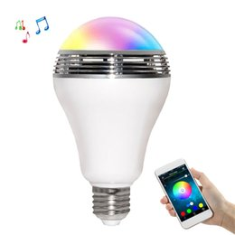Wholesale Mini Android Mp3 Speaker - 2 in 1 E27 3W Smart LED Bulb Wireless Bluetooth Speaker Mini Speaker RGB LED Lamp Color Change Dimmable by IOS   Android APP