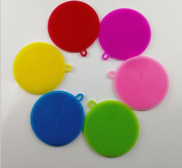 Wholesale Magic Sponges - 8 Colors Multi-fonction Magic Silicone Dish Bowl Cleaning Brushes Scouring Pad Pot Pan Wash Brushes Cleaner Kitchen Accessories