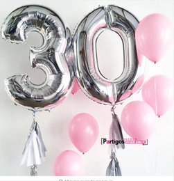 Wholesale Balloon Decor Supplies - 40inch Number 0-9 Foil Balloons Gold Silver Digit helium Balloon Kids Birthday Party Banner Wedding Decor Ballon Party Supplies