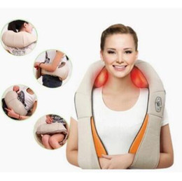 Wholesale neck massage pillows - Home And Car Dual-Use Infrared Cervical Massage Shawls Pillow Shiatsu Kneading Neck And Shoulder Massager Body Massager CCA7265 10pcs