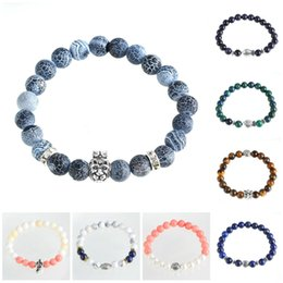 Wholesale Wrap Bracelet Natural Stones - Charms Bracelets Natural Stones Silver Lion Jewelry Accessories With Gold Crown Howlite Lava Beads Men Bracelets Women Wrap Bead Bracelets