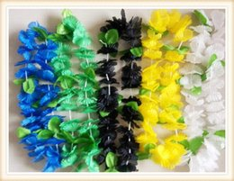 Wholesale Wholesale Leis - NEW Hawaiian Colorful Leis Beach Theme Luau Party Flower Necklace Garlands For Party Decoration Hawaii flower lei