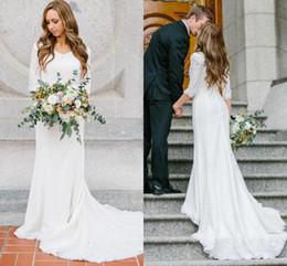 Wholesale 34 Sleeve Wedding Dress - Vintage Modest Wedding Dresses With Sleeves Vintage Lace Mermaid Wedding Gowns 34 Sleeves Bridal Gowns 2017 Wedding Dress Mermaid Cheap