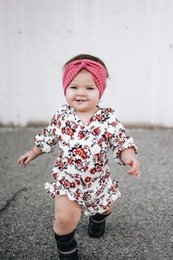 Wholesale Toddler Bodysuits - Baby Girl Floral Printed Sleeveless Jumpsuits 2017 Ins Hot Sale Toddler Infant Girls National Style Flower Rompers Bodysuits