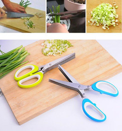 Wholesale Cooking Cutter - Stainless Steel Scissor 5 Layers Spices Cutter Chopped Green Onion Cut Scissors Cooking Tool Multifunctional Kitchen Knives