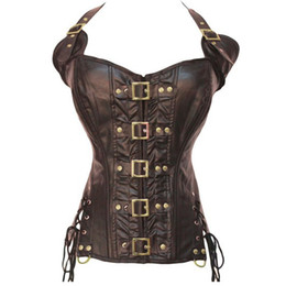 Wholesale Lace Vests For Women - Women Leather Corset Sexy Bandage Steampunk Corset Overbust Lace Up Back Vest Dominatrix Dress Corselet Espartilhos for Ladies