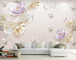 Wholesale Chinese Kitchen Decor - 3D Embossed Tulip Flower Photo Wallpaper Mural for Living Room Sofa TV Background Wall Art Decor papier peint Wall Paper Murals
