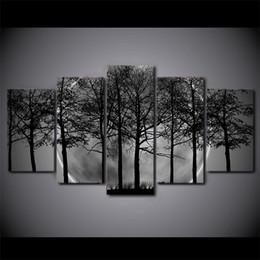 Arbre blanc toile art mural en Ligne-5 Pcs / Ensemble Encadré HD Imprimé Noir Et Blanc Arbre Forêt Toile Art Peinture Affiche Image Pour La Maison Décoratif Mur Photo