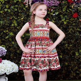 Wholesale Patterns For Dresses - W.L.MONSOON Girls Sleeveless Dress with Rose Pattern 2017 Brand Girls Clothes Costume for Kids Party Dresses Vestido Infantil