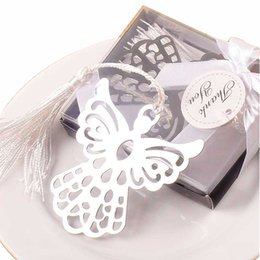 Wholesale Silver Wedding Bomboniere - 10 PCS Party Favor Angel Silver Metal Bookmark Boxed For Baptism Baby Bridal Shower Christening Wedding Favours Bomboniere