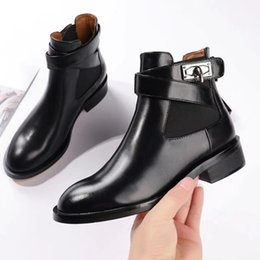 Wholesale Low Heeled Ankle Booties - Black Leather Buckle Martin Booties Feminino Low heels Ankle Boots Women's Shoes Fashion New 2018