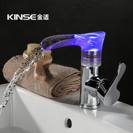 Wholesale Changing Basin Taps - Direct selling LED temperature change color The waterfall faucet Children led the hot tap basin faucet