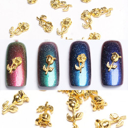 Wholesale new nail stickers - New Nail Art Decorations 10pc Random Gold Flower Bud Nail Stickers Blooming Rose Alloy Rhinestones DIY Manicure 3D Tools 2017