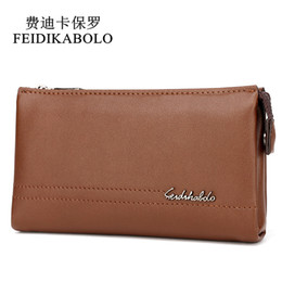 Wholesale Yellow Leather Clutch - FEIDIKABOLO Top Brand Male Handy Bags Wallet Clutch Men's Wallets Business Carteras Mujer High Quality Leather Men Purse Zipper