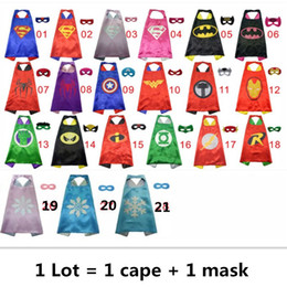 Wholesale Children Costume Spiderman Wholesale - 70*70CM Superhero Capes and Masks Kids Capes Double Layers Spiderman Cape Christmas Halloween Cosplay For Children Gifts
