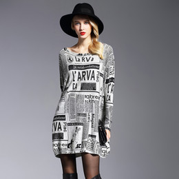 Wholesale Wholesale Plus Size White Dresses - 2017 New Autumn Winter Sheep Wool Women Oversized Sweater Dress Casual Batwing Sleeve Newspaper Printed Lady Knitted Plus Size Pullovers