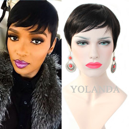 Wholesale Indian Hair Cap Wig - Glueless wig cap Indian Remy Human Hair Machine Made Wig For Black Women In Stock Fast Shipping