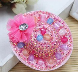 Wholesale Pressure Hair Clips - The 2017 explosion models are Korean new children hair large Diamond Flower Hat hairpin clip are adorable side clamping pressure