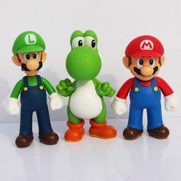 Wholesale Super Mario Figures Toys Doll - 3pcs set high quality Super Mario Bros Action Figures mario 5inch 12CM PVC Toys Dolls Gift Children's Gift Sets
