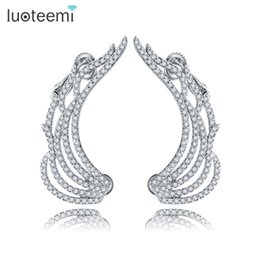 Wholesale Feather Earrings Gold Charms - LUOTEEMI New High Quality Delicate Cute Feather Stud Earrings Personalized Jewelry White Gold-Color Brincos For Women Party