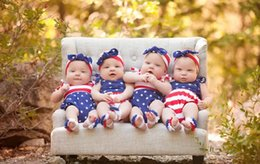 Wholesale Spring Big Flag - Baby INS Flag of the United States Rompers Girl Cotton print romper +Big Bows headbands 2pcs sets baby clothes A080