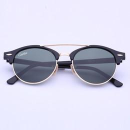 Wholesale Sunglasses Outdoors - Newest Brand Club Sunglasses Round Men Sun Glasses Women Outdoor Retro clubround Double Bridge Sunglass carfia Gafas de sol 51mm case