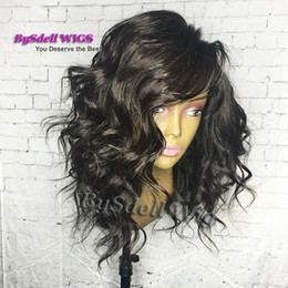 Wholesale ladies short wigs - New Arrival Sexy Lady Short Body Wavy Hair Lace Front Wig Glueless Synthetic Lace Front Wigs with Baby Hair