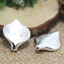 Wholesale orchid jewelry wholesale - 4pcs--Orchid flower bead Silver plated Beads,Spacer Bead Finding,Curved,DIY Jewelry Making 25x35mm