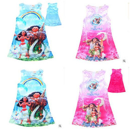 Wholesale Wholesale Birthday Clothes For Children - Moana Dress Girl Cartoon Children Kids Clothing Summer Girls Moana Clothes Cotton Baby Dress for Birthday Party Dress 50pcs Free Shipping