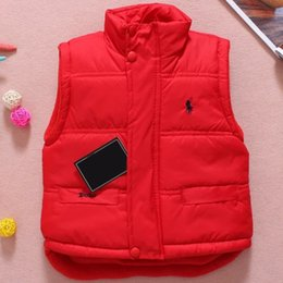 Wholesale Thick Girl Coats - Baby Vest Jacket Children Solid Winter Outerwear Coats Clothing Plus Cotton Warm Clothes for Boy Girl Thick Toddler Waistcoat
