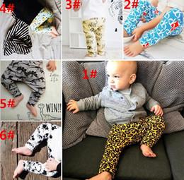 Wholesale Girl Tights Leopard - Baby Ins PP Pants Ins Xmas Harem Pants Cotton Leopard Fox dinosaur Pants Kids Fashion Leggings Girl Tights Newborn Trousers 6 Design