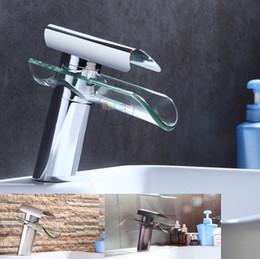 Wholesale Modern Bathroom Faucet Waterfall - Wholesale- Bathroom Faucet, Advanced Modern glass waterfall contemporary Chrome Brass Bathroom basin sink Mixer waterfall Tap 2013 XP-007