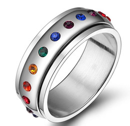 Wholesale Wholesale Jewelry Supply China - China free gay factory supply hot selling gay jewelry fashion rainbow diamond ring for men and women promise ring wedding ring