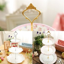 Wholesale Cake Stand Fittings Wholesale - Wholesale-Hot Sale 1set 3   2 Tier Cake Plate Stand Handle Fitting Hardware Rod Plate Stand Beauty