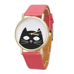 Wholesale Unique Womens Wrist Watches - 2018 hot sell New Unique Womens Wrist Watch Unisex Cat Leather Analog Quartz Dial Dress Watch free shippment
