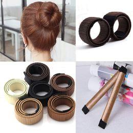 Wholesale Hair Bun Wholesaler - Hair Magic Tools Bun Maker Hair Ties Girl DIY Styling Donut Former Foam Hair Bows French Twist Magic Tools Bun Maker