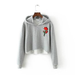 Wholesale Short Sleeve Sweater Hoodies - dongguan_wholesale Women Hoodies Wholesale 2018 Spring new Top Rose Embroidery Hoodie Long Sleeve Loose Fashion Hoodie Sweater Grey Color