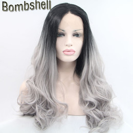 Wholesale Wig Silver White Long - Bombshell Short Black Roots Ombre Silver Grey Long Loose Wave Front Lace Wig Synthetic Glueless Heat Resistant For Black White Women