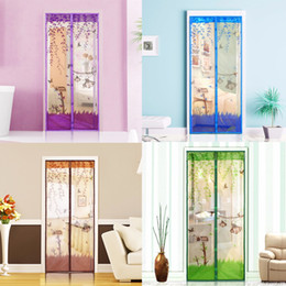 Wholesale Magnetic Kitchen Tools - 1 pc Home Magnetic Mesh Screen Door Mosquito Net Curtain Protect Kitchen Window Organza Screen Four Colors 90*210cm 100*210cm