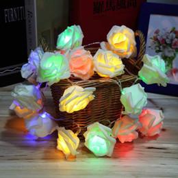 Wholesale Led Water Roses - Fashion Holiday Lighting 20 LED Rose Flower String Lights Fairy Wedding Party Christmas Decoration