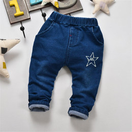 Wholesale Knit Waist Jeans - Boys Knitted jeans stretch cotton trousers in the spring of 2017 Korean star children trousers kid217 dhl