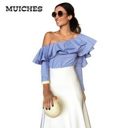 Wholesale One Shoulder Women Top - One shoulder ruffles blouse shirt women tops 2016 autumn Casual blue striped shirt Long sleeve cool blouse winter blusas shirts for women